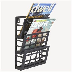 Grid Magazine Rack 3 Pocket in Black