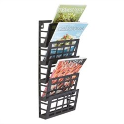 Grid Magazine Rack 5 Pocket in Black