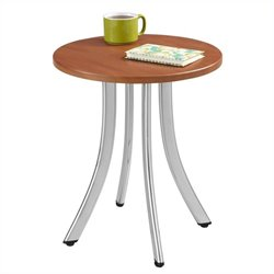 Safco Decori Wood Side Table Short in Cherry and Chrome