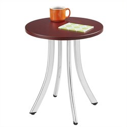 Safco Decori Wood Side Table Short in Silver and Mahogany