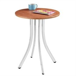 Wood Side Table Tall in Cherry and Chrome