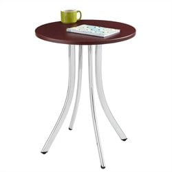 Wood Side Table Tall in Silver and Mahogany