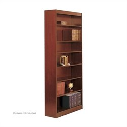 Safco 7-Shelf Square-Edge Veneer Bookcase in Cherry