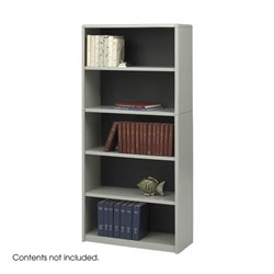 Safco 5-Shelf ValueMate Grey Economy Steel Bookcase