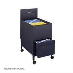 Safco Locking Mobile Letter Size Tub File with Drawer in Black