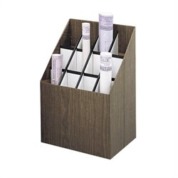 12 Compartment Upright Corrugate Fiberboard Roll Files in Walnut