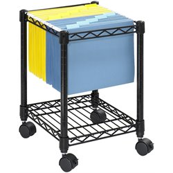 Compact Metal Mobile File Cart in Black