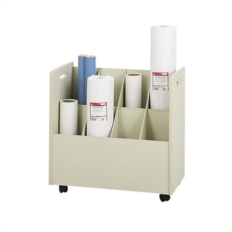 Safco Wood Mobile Roll Files 8 Compartments in Putty