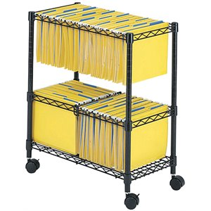 Two-Tier Mobile Metal File Cart in Black
