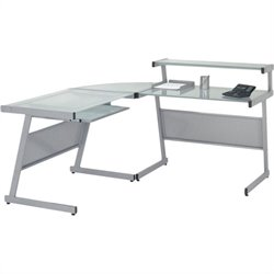 Eurostyle Landon L-Shape Glass Top Computer Desk - Graphic Black with Smoked Glass