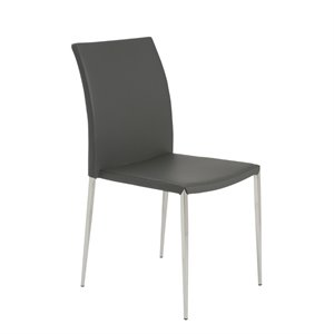 Eurostyle Diana Stacking Side Chair in Gray (Set of 4)