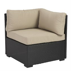 Eurostyle Hector Outdoor Corner Chair in Taupe and Black