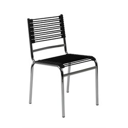 Eurostyle Bungie Stacking Dining Side Chairs in Black and Chrome