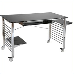 Eurostyle Brichi Metal Computer Desk on Casters in Black and Chrome