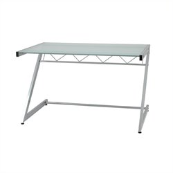 Eurostyle Zaki Deluxe Medium Size Glass Top Computer Desk - Aluminum/Frosted Glass