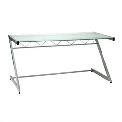 Eurostyle Zaki Deluxe Large Glass Top Computer Desk - Aluminum/Frosted Glass
