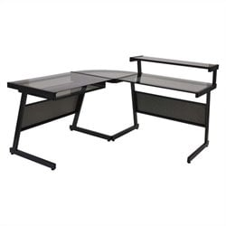 Eurostyle L Desk in Graphite Black and Smoked Glass
