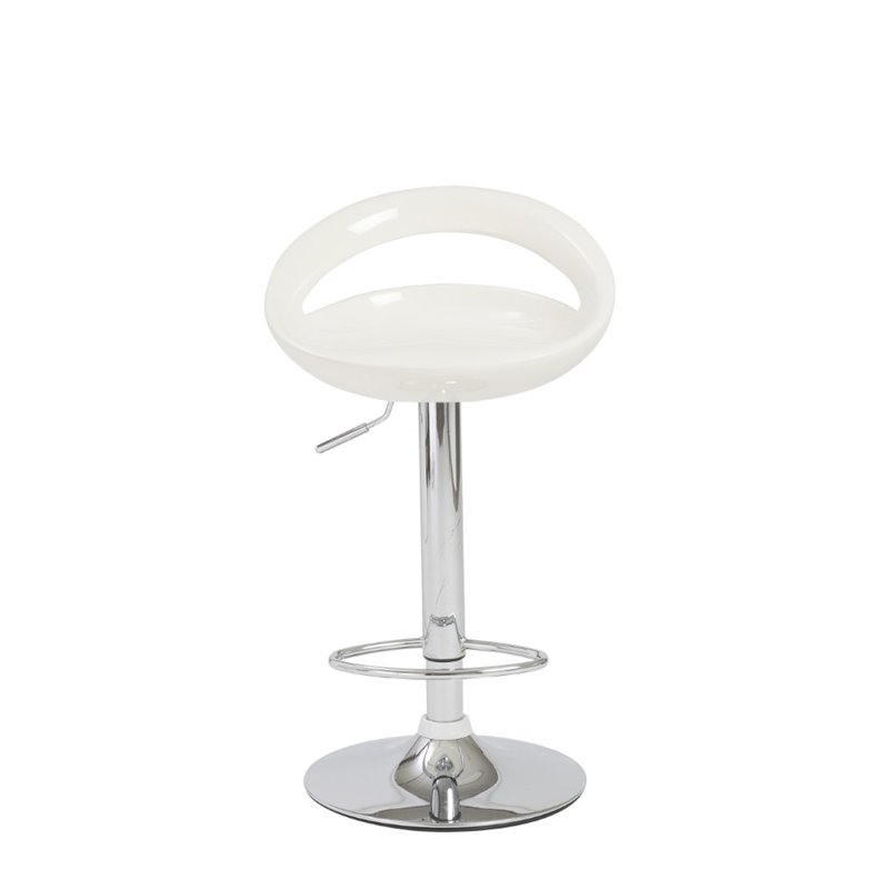 Adjustable Swivel Stool in White and Chrome