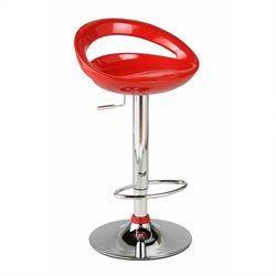 Adjustable Swivel Stool in Red and Chrome