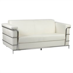Eurostyle Leander III Sofa in White Leather and Chrome