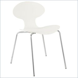 Eurostyle Beatrix Modern Dining Side Chair with Chrome Legs in White