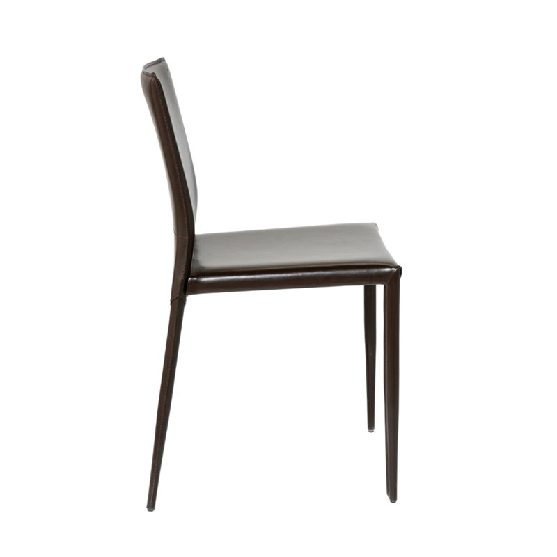 Eurostyle Shen  Dining Chair in Brown Leather