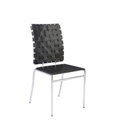 Eurostyle Carlsen Black Leather Dining Chair