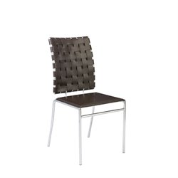 Eurostyle Carlsen Stack Leather Dining Side Chair in Brown