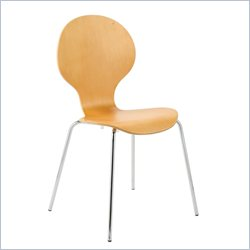 Eurostyle Bunny Stacking Dining Side Chair in Natural and Chrome