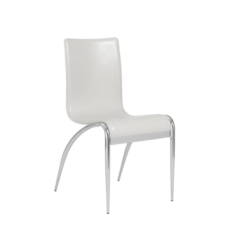 Eurostyle Gloria Leather Dining Chair in White and Chrome
