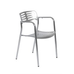 Eurostyle Helen Stacking Polished Indoor or Outdoor Arm Dining Chair