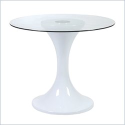 Eurostyle Jerry White Fibreglass Dining Table with 32 Inch Glass Top