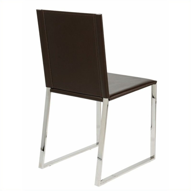 Eurostyle Cora Leather  Dining Chair in Dark Brown