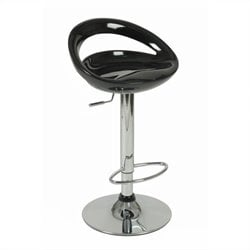 Eurostyle Agnes Low Back Adjustable Swivel Stool in Black and Chrome