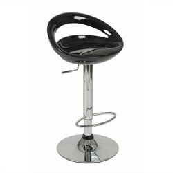 Low Back Adjustable Swivel Stool in Black and Chrome