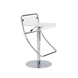 Adjustable Counter Stool with Low Back in Clear