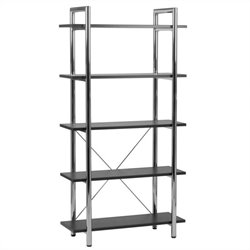 Eurostyle Ledah 5 Shelf Metal Rack Bookcase - Black