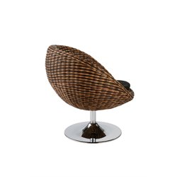 Eurostyle Olivia Brown Rattan Swivel Egg Chair