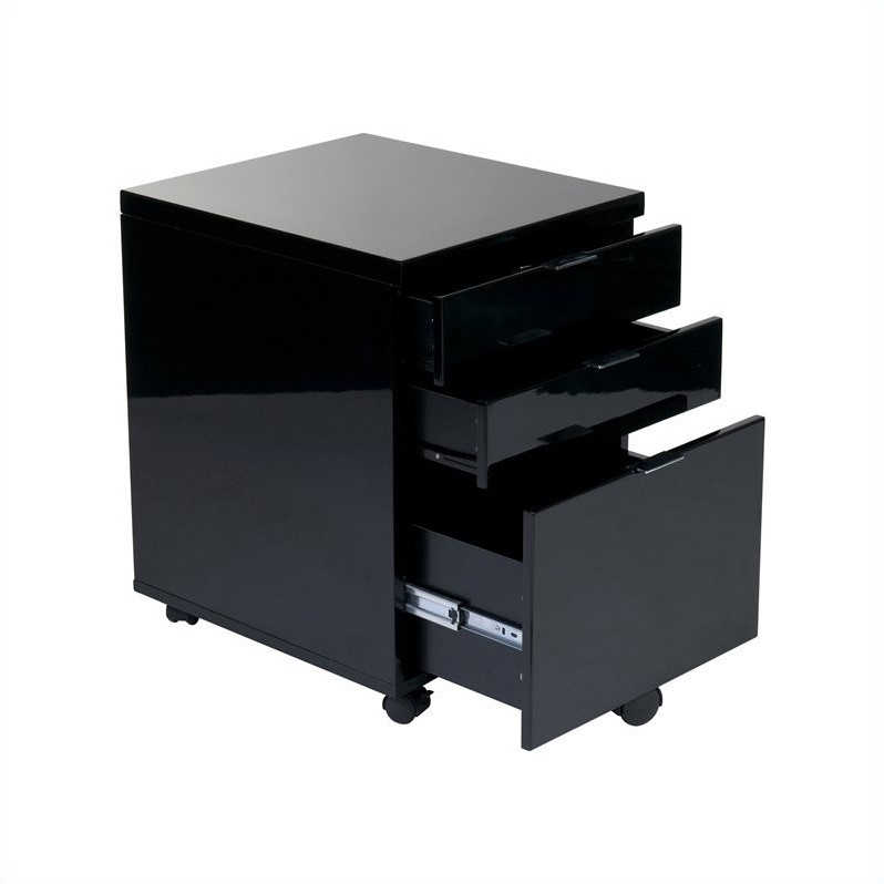 Eurostyle Giorgia 3 Drawer File Cabinet in Black