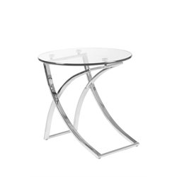 Eurostyle Talisa Side Table in Clear Glass/Chrome