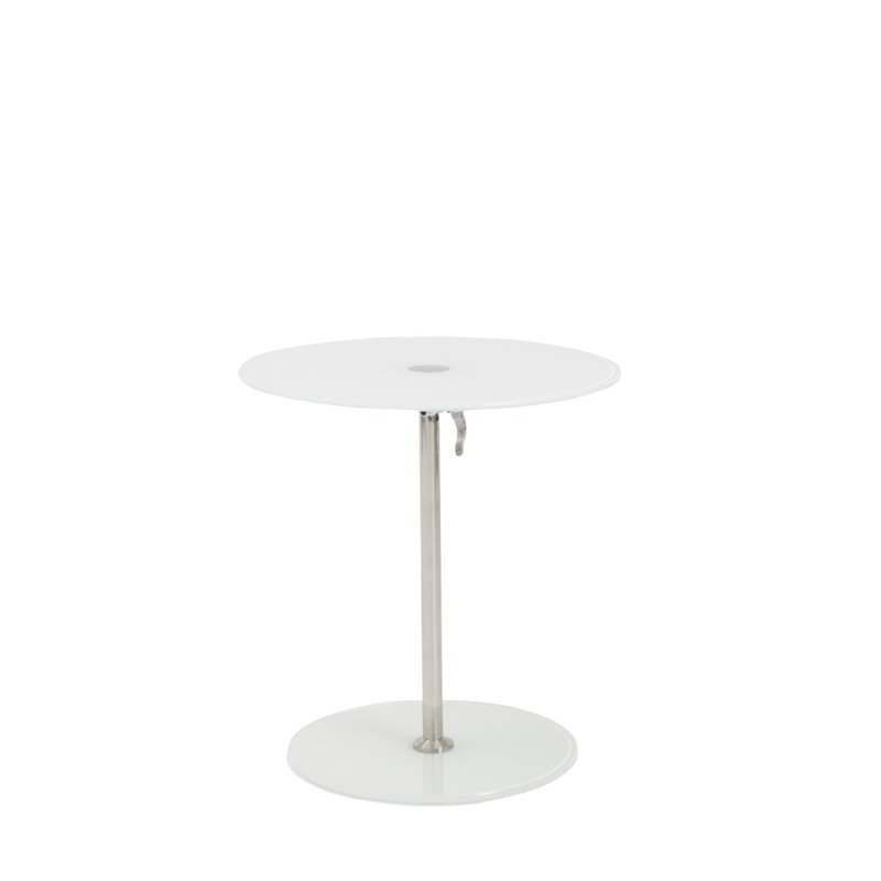 Eurostyle Radinka Round Side Table in Pure White Glass