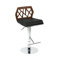 Eurostyle Sophia Adjustable Bar Stool in Walnut and Black