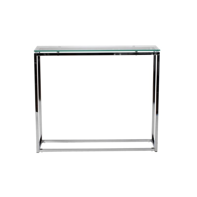 Eurostyle Sandor Console Table in Clear Glass/Chrome