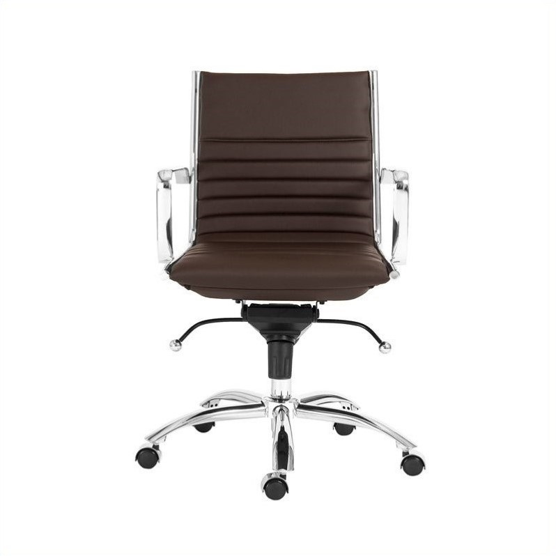 Dirk Low Back Office Chair in Brown/Chrome