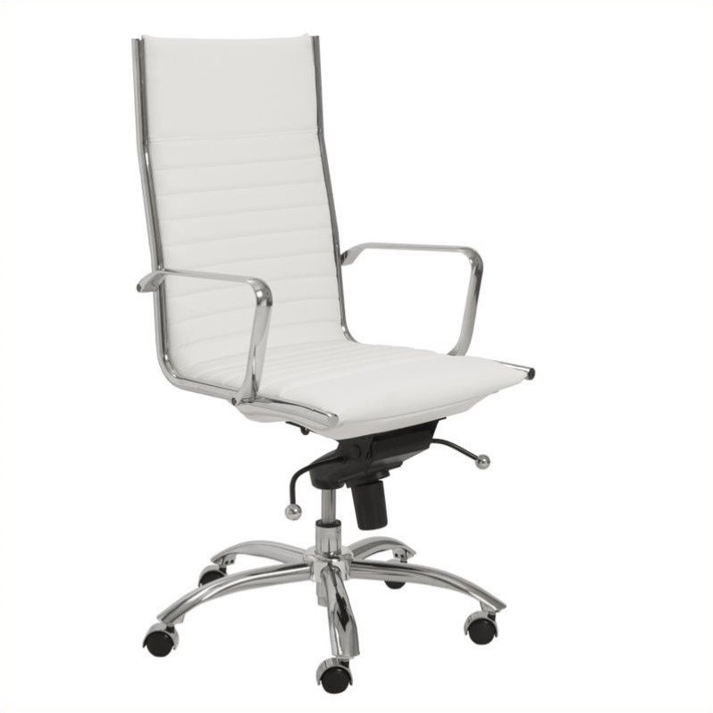 Eurostyle Dirk High Back Office Chair in White / Chrome