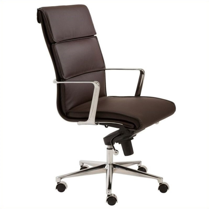 Eurostyle Leif High Back Office Chair in Brown/Chrome