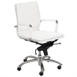 Eurostyle Gunar Pro Low Back Office Chair in White/Chrome