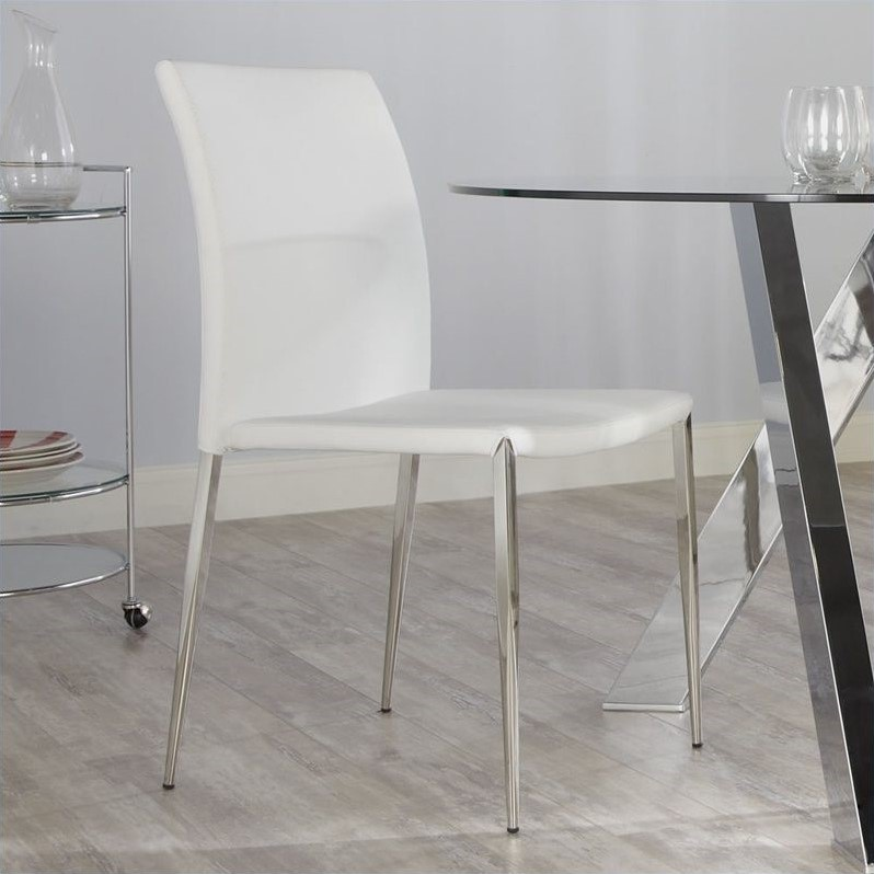 Diana Side Chair in White/Stainless
