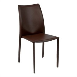 Eurostyle Dalia Side Chair in Brown Leather