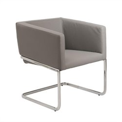 Eurostyle Ari Faux Leather Lounge Arm Chair in Gray